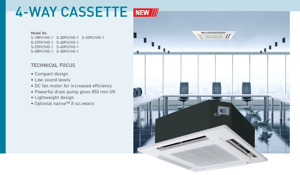 Panasonic 4 Way Ceiling Cassette Non Inverter 2 0hp R410a
